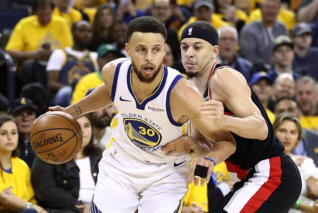 Stephen Curry led the Warriors to a win over the Portland Trail Blazers in Game 1 of the Western Conference finals on Tuesday in Oakland, California. (Getty)