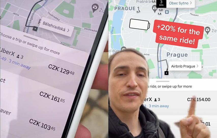 The TikToker claims uber charges more if your phone's battery is low. Source:
