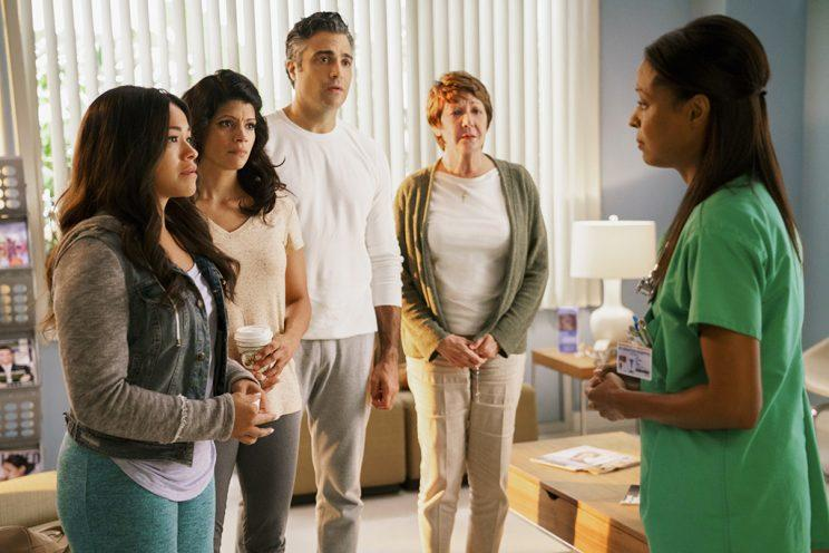 Gina Rodriguez as Jane, Andrea Navedo as Xo, Jaime Camil as Rogelio, and Ivonne Coll as Alba (Credit: Michael Desmond/The CW)