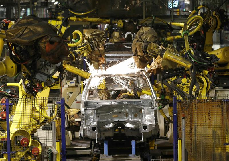 File photo of Peugeot 208 automobiles which are assembled at the PSA-Peugeot Citroen plant in Poissy