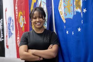Shown here, a student veteran at California State University, Fullerton's Veteran Resource Center.