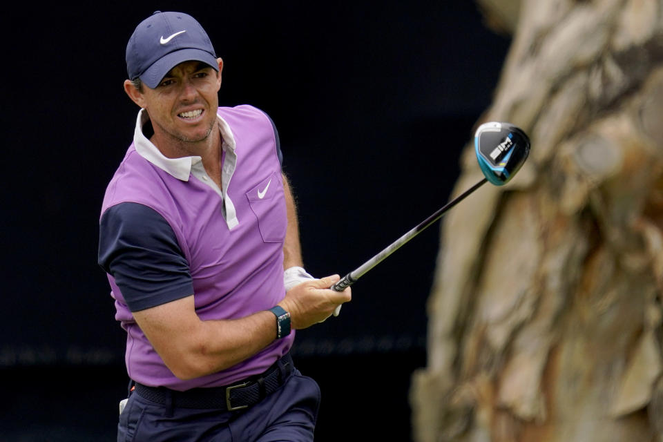 Rory McIlroy, of Northern Ireland, plays his shot from the seventh tee during the third round of the U.S. Open Golf Championship, Saturday, June 19, 2021, at Torrey Pines Golf Course in San Diego. (AP Photo/Gregory Bull)