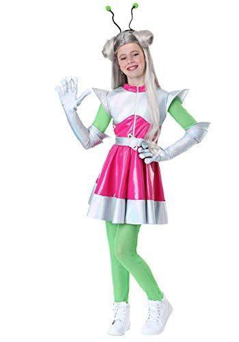 """<p><strong>Fun Costumes</strong></p><p>amazon.com</p><p><strong>$44.99</strong></p><p><a href=""""http://www.amazon.com/dp/B07JNF8G24/?tag=syn-yahoo-20&ascsubtag=%5Bartid%7C10050.g.28496790%5Bsrc%7Cyahoo-us"""" rel=""""nofollow noopener"""" target=""""_blank"""" data-ylk=""""slk:Shop Now"""" class=""""link rapid-noclick-resp"""">Shop Now</a></p><p>This set comes with a dress, gloves, and antennae so your child will be ready to blast off into the stratosphere. </p>"""