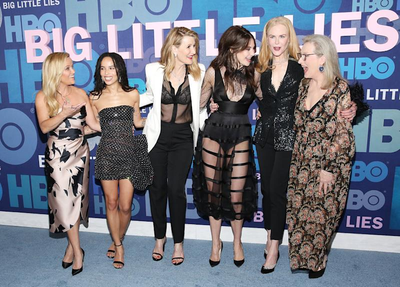 "NEW YORK, NEW YORK - MAY 29: (L-R) Reese Witherspoon, Zoe Kravitz, Laura Dern, Shailene Woodley, Nicole Kidman and Meryl Streep attend the ""Big Little Lies"" Season 2 Premiere at Jazz at Lincoln Center on May 29, 2019 in New York City. (Photo by Monica Schipper/FilmMagic)"