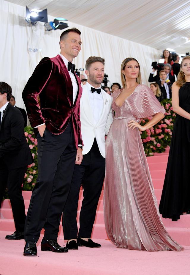 Tom Brady, Julian Edelman and Gisele Bünchen attend The 2019 Met Gala Celebrating Camp: Notes on Fashion at Metropolitan Museum of Art on May 06, 2019 in New York City. (Photo by Dia Dipasupil/FilmMagic)
