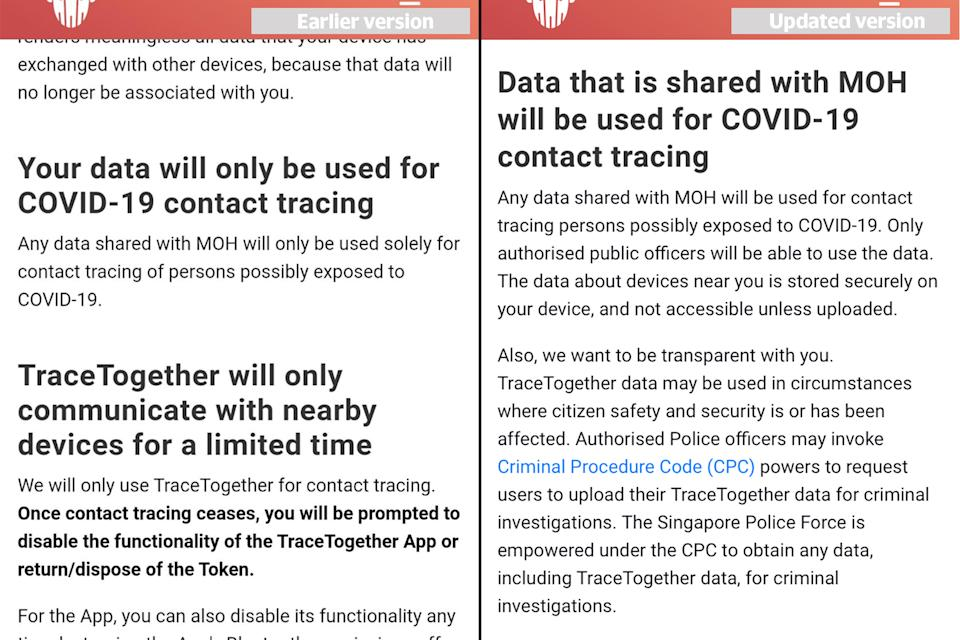 An earlier version (left) of the TraceTogether privacy statement seen next to the updated version (right). (PHOTOS: Screengrabs from TraceTogether website)