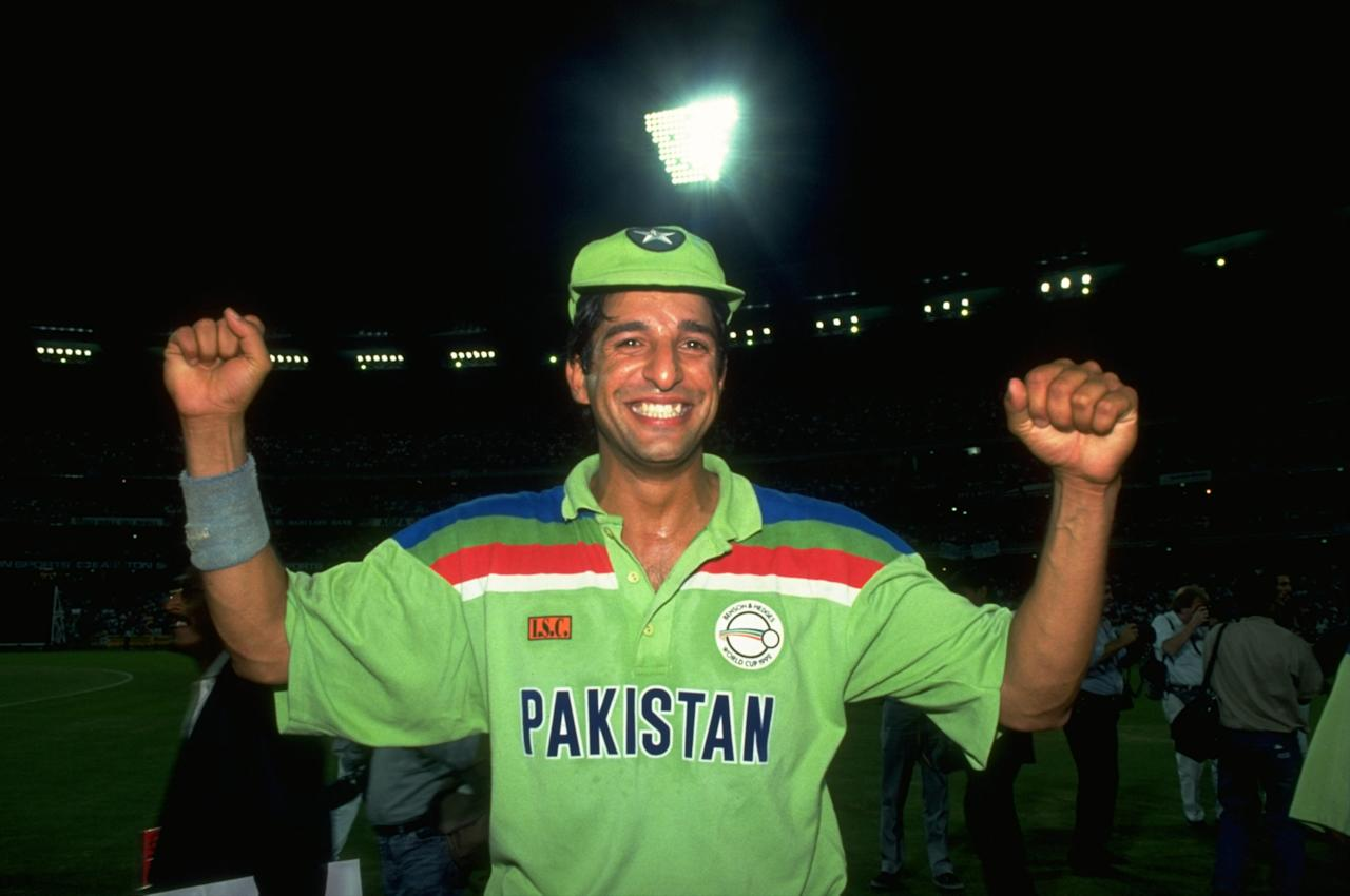 1992:  Wasim Akram of Pakistan celebrates after their victory in the World Cup final against England at Melbourne Cricket Ground in Australia. Pakistan won the match by 22 runs. \ Mandatory Credit: Ben  Radford/Allsport