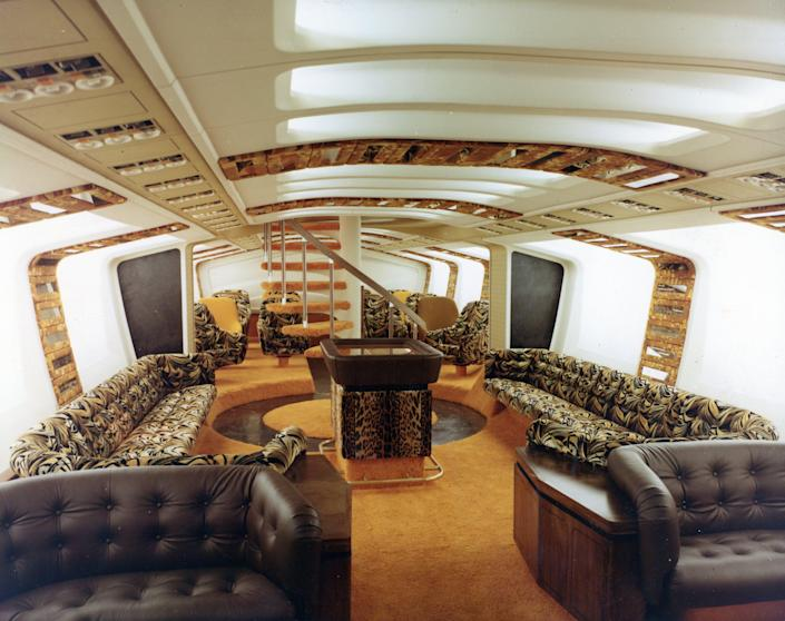 Boeing's mock-up for the Tiger Lounge, complete with the 747's iconic spiral staircase.