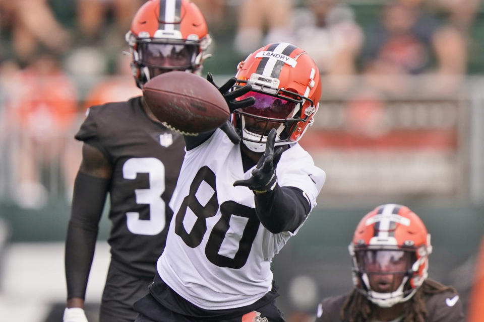 Cleveland Browns wide receiver Jarvis Landry (80) catches a pass during an NFL football practice, Saturday, July 31, 2021, in Berea, Ohio. (AP Photo/Tony Dejak)