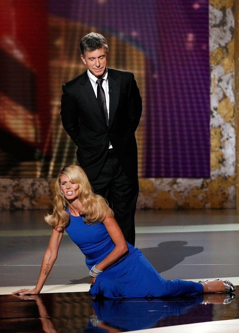 <p>In 2008, a bunch of different reality TV stars hosted the Emmys. At one point, Heidi Klum and Tom Bergeron were on stage. During a skit they hadn't rehearsed, Klum pretended to swoon and fall into Bergeron's arms. Unfortunately, he dropped her, and she hit the ground hard. Later on backstage, Klum showed off a very bad bruise. </p>