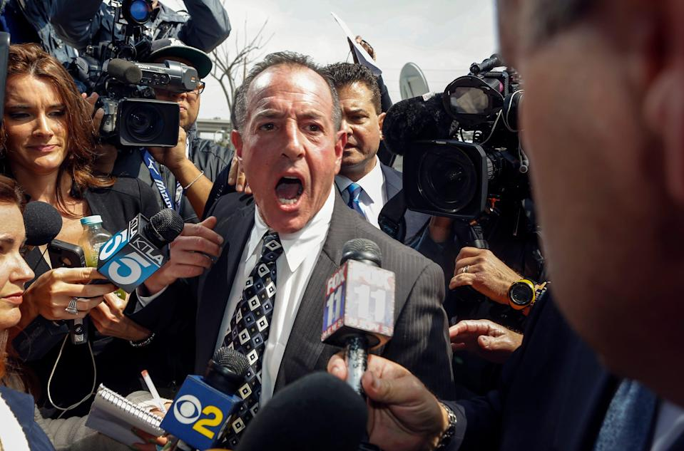 Michael Lohan, father of actress Lindsay Lohan, speaks to the media in Los Angeles County on Monday, March 18, 2013.