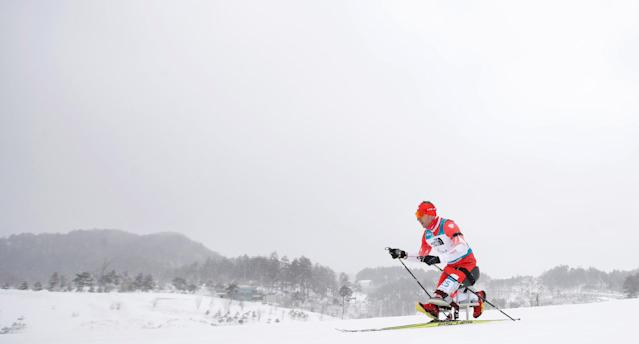 Biathlon - Pyeongchang 2018 Winter Paralympics - Men's 15km - Sitting - Alpensia Biathlon Centre - Pyeongchang, South Korea - March 16, 2018 - Kamil Rosiek of Poland competes. REUTERS/Carl Recine