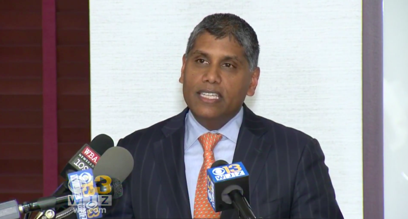 Dr. Mohan Suntha, the hospital's president and CEO, apologized for the incident at a press conference. (CBS Baltimore)
