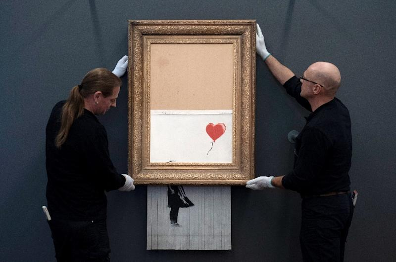 "The artwork ""Love is in the Bin"" by Banksy has been put up at the Frieder Burda Museum in Baden-Baden"