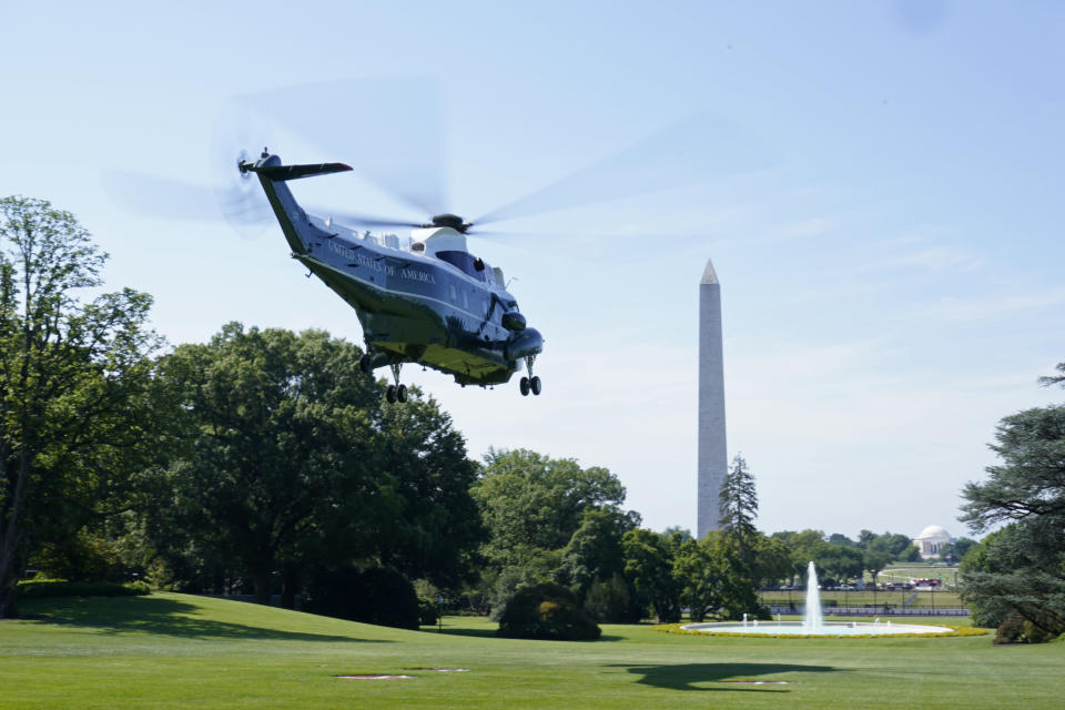 Marine One, with President Joe Biden on board, lifts off from the South Lawn of the White House in Washington, Tuesday, June 29, 2021. Biden is heading to Wisconsin and is hoping to get the bipartisan infrastructure deal on track by highlighting its expected economic benefits. (AP Photo/Susan Walsh)