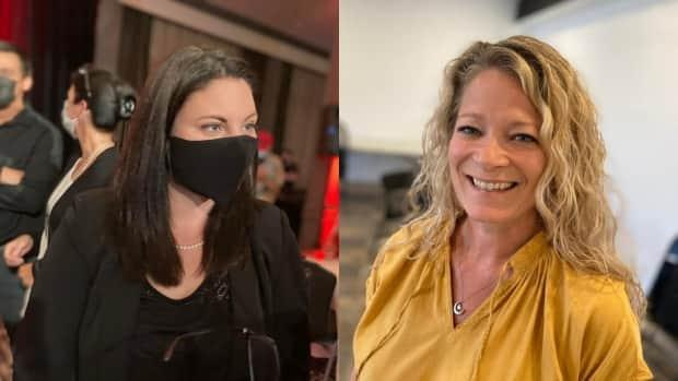 Liberal candidate Jenica Atwin and Conservative candidate Andrea Johnson are still vying for a spot in Parliament one day after the federal election. (Jacques Poitras/CBC - image credit)