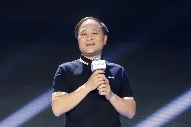 FILE PHOTO: Zhejiang Geely Holding Group's Chairman Li attends Baidu's annual AI developers conference Baidu Create 2019 in Beijing