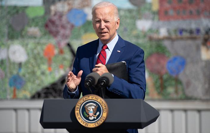 US President Joe Biden speaks about coronavirus protections in schools during a visit to Brookland Middle School in Washington, DC, September 10, 2021. (Photo by SAUL LOEB / AFP) (Photo by SAUL LOEB/AFP via Getty Images)