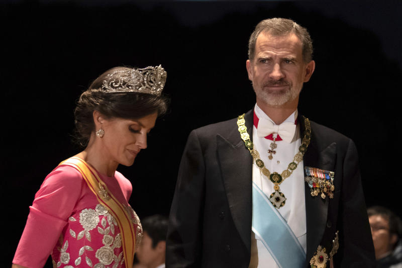Spain's King Felipe and his wife Queen Letizia arrive at the Imperial Palace for the court banquet after the enthronement ceremony of Emperor Naruhito in Tokyo Tuesday, Oct. 22, 2019. (Pierre-Emmanuel Deletree/Pool Photo via AP)