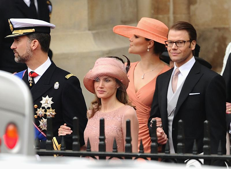 Then-Prince Felipe and then-Princess Letizia of Spain (now the king and queen) and Crown Princess Victoria and Prince Daniel of Sweden exit Westminster Abbey after the 2011 royal wedding.