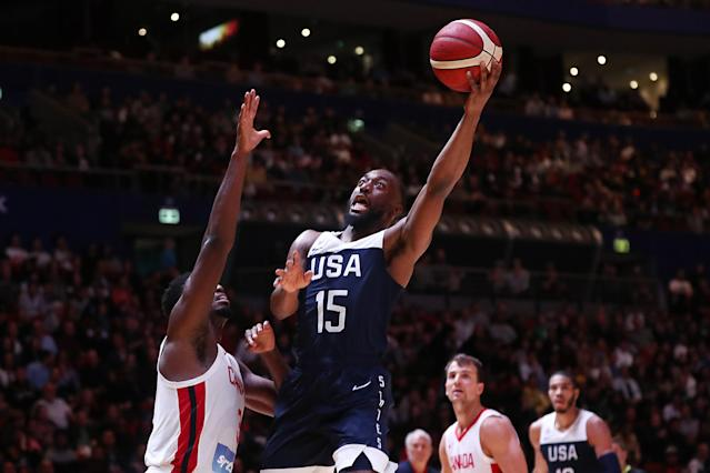 SYDNEY, AUSTRALIA - AUGUST 26: Kemba Walker of the USA lays up a shot during the International Friendly Basketball match between Canada and the USA at Qudos Bank Arena on August 26, 2019 in Sydney, Australia. (Photo by Mark Metcalfe/Getty Images)