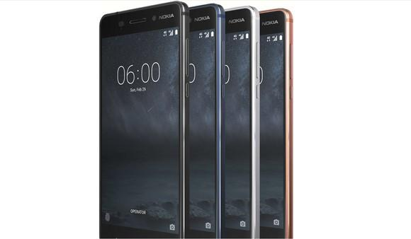 Four Nokia 6 phones stacked upright.
