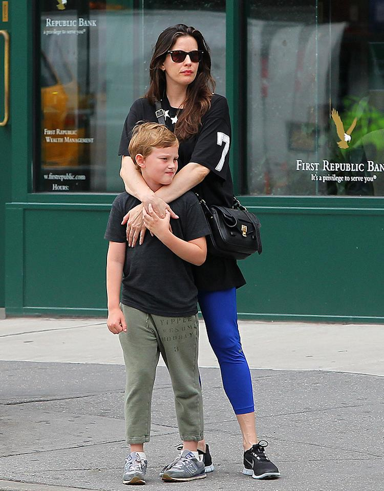 Liv Tyler and son Milo spend quality time together before bumping into Mario Batali.  Liv and Milo were spotted acting cute with on and other in NYC's Greenwich Village on Tuesday afternoon.  Upon walking home Liv and Milo bumped into famous chef Mario Batali who was riding his Vespa.