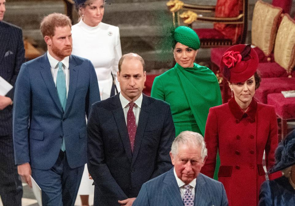 Britain's Prince Harry, Duke of Sussex (L) and Britain's Meghan, Duchess of Sussex (2nd R) follow Britain's Prince William, Duke of Cambridge (C) and Britain's Catherine, Duchess of Cambridge (R) as they depart Westminster Abbey after attending the annual Commonwealth Service in London on March 9, 2020. - Britain's Queen Elizabeth II has been the Head of the Commonwealth throughout her reign. Organised by the Royal Commonwealth Society, the Service is the largest annual inter-faith gathering in the United Kingdom. (Photo by Phil Harris / POOL / AFP) (Photo by PHIL HARRIS/POOL/AFP via Getty Images)