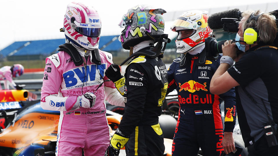 Nico Hulkenberg and Daniel Ricciardo, pictured here after qualifying at Silverstone.