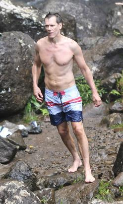 Kevin Bacon looks pretty good for 53. The actor went shirtless while hiking to a Hawaiian waterfall on June 28