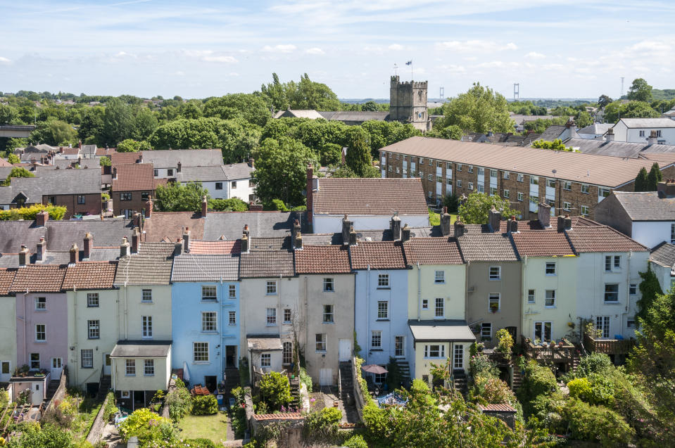 An Elevated View Of Town Houses In Wales, United Kingdom
