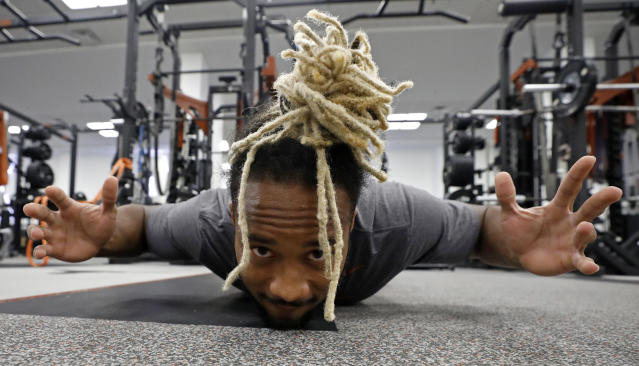 Texas Longhorns' Kirk Johnson works out Wednesday Sept. 4, 2019 in Austin, Tx. ( Photo by Edward A. Ornelas )
