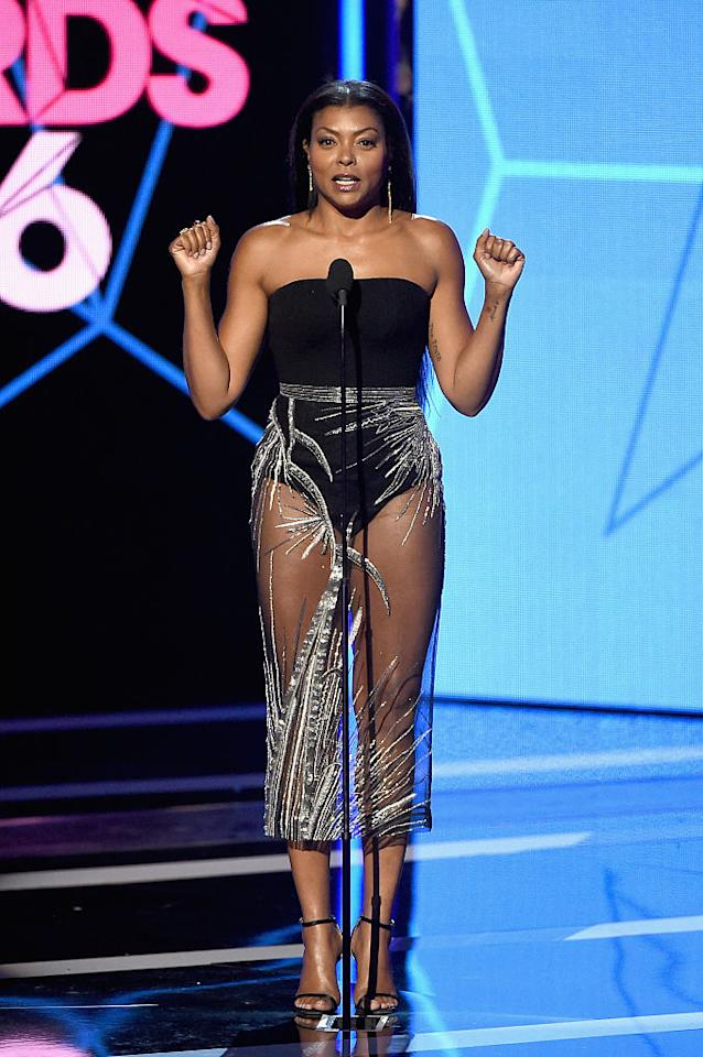 "<p><b>When: June 26, 2016</b> <br /> The ""Empire"" beauty rocked the same sheer pencil skirt with a black strapless bodysuit at the 2016 BET Awards. <i>(Photo: Getty)</i> </p>"