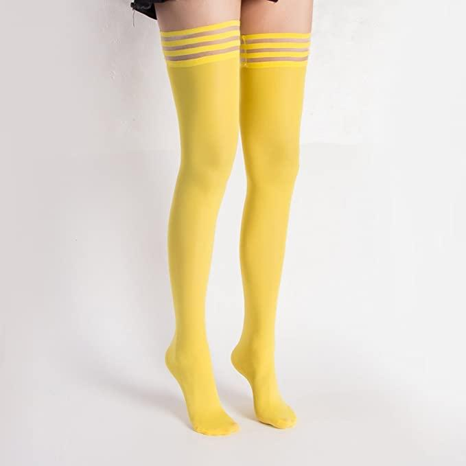 Women's Antiskid Silicone Lace Top Opaque Thigh High Stockings. Image via Amazon.