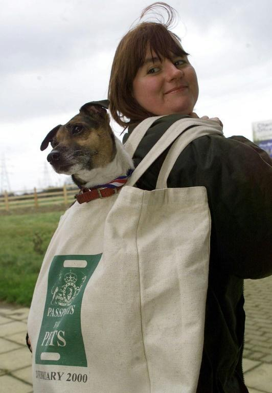 A dog owner carries her pet after arriving at Folkstone through the Channel Tunnel on the first day of the passport scheme started in 2000 allowing animals into Britain without quarantine regulations