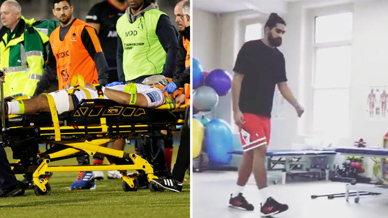Michael Fatialofa suffered a horrible injury and is stretchered off and is pictured walking 11 weeks later.