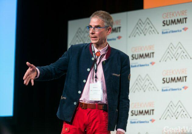Neuroscientist Christof Koch, president and chief scientific officer of the Allen Institute for Brain Science, talks about the roots of consciousness at the 2017 GeekWire Summit. (Photo by Dan DeLong for GeekWire)