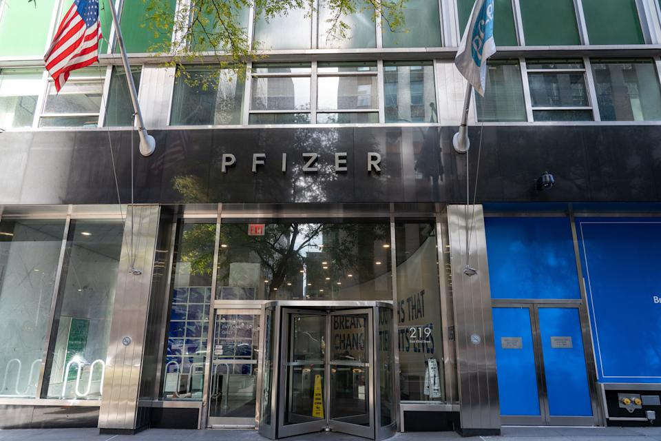 "Pfizer Inc. headquarters is seen in New York City. Pfizer has released footage of a potential coronavirus vaccine rolling off the production line. The Manhattan-based drug giant company told the Mail on Sunday that it has already made ""several thousand doses"" of the drug as it prepares to seek emergency use in the US by November. (Photo by Ron Adar / SOPA Images/Sipa USA)"