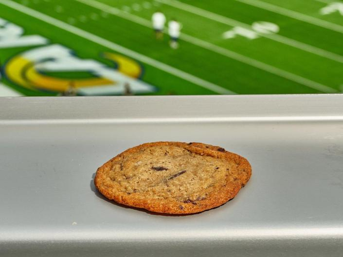 The chocolate chip cookie at the Fairfax Avenue concession stand at SoFi Stadium.