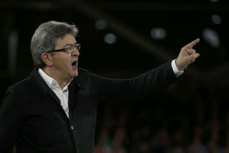 Jean-Luc Melenchon of the French far left Parti de Gauche and candidate for the 2017 French presidential election, attends a political rally in Lille,