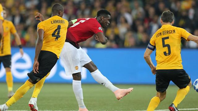 Anthony Martial added to Paul Pogba's brace as Manchester United comfortably brushed aside Young Boys in Bern.