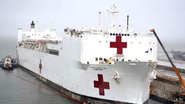 PHOTO: The USNS Comfort takes on fuel and supplies in preparation to deploy in support of the nation's coronavirus outbreak, March 25, 2020. (U.S. Navy )