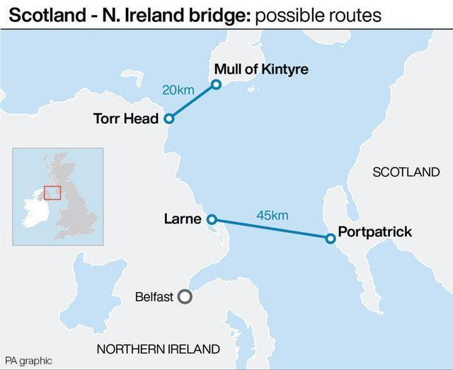 A graphic showing the two proposed locations where the bridge would link Scotland and Northern Ireland. (PA graphics)