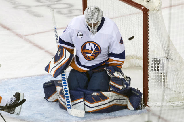 New York Rangers right wing Jesper Fast (not shown) scores a goal past New York Islanders goaltender Robin Lehner (40) during the third period of an NHL hockey game, Thursday, Jan. 10, 2019, at Madison Square Garden in New York. (AP Photo/Mary Altaffer)