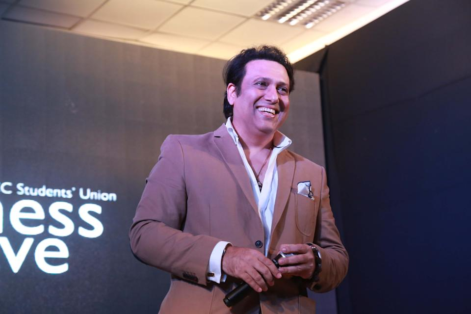 NEW DELHI, INDIA - FEBRUARY 7: Bollywood actor Govinda during the promotion of his upcoming movie 'Aa Gaya Hero' at Shri Ram College of Commerce, on February 7, 2017 in New Delhi, India. The film is scheduled to release on March 3. The film is directed by Dipankar Senapati and produced by Govinda. It features Govinda and former Mrs. World Richa Sharma in the lead roles. (Photo by Amal KS/Hindustan Times via Getty Images)