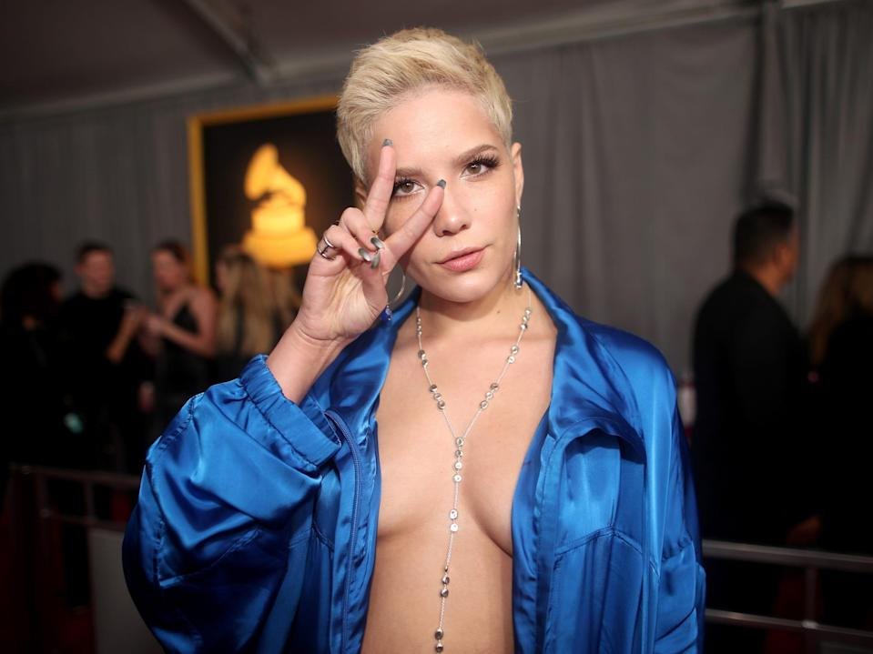Halsey at the 59th annual Grammy Awards in 2017 Getty Images Christopher Polk