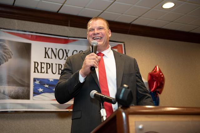 Glenn Jacobs, also known as WWE star Kane, speaks at a political event. (Photos courtesy of WWE)