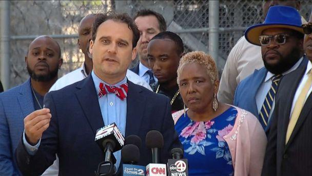 PHOTO: Attorney Mark Peper and family members of Jamal Sutherland, who died while in custody at the Sheriff Al Cannon Detention Center, speak at a press conference, May 14, 2021, in Charleston, S.C. (Charleston County Sheriff's Office)