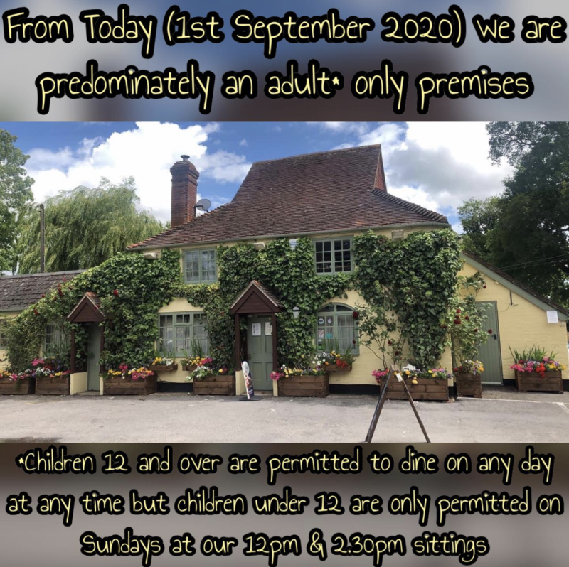 Children under 12 will now only be allowed to dine on Sunday afternoons. Source: Facebook/The Compass Inn, Winsor