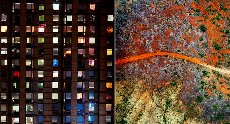 Left - an apartment block with colourful windows. Right - an aerial image of an African landscape.